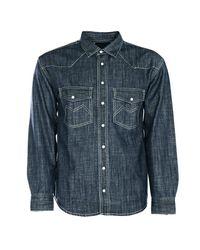 Boohoo Long Sleeve Dark Blue Denim Western Shirt for men