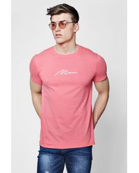 Boohoo Pink Man Signature Embroidered T-shirt for men