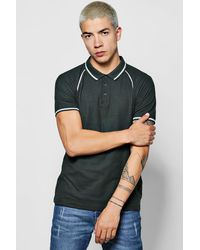 Boohoo Multicolor Raglan Polo With Piping Detail for men