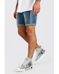 BoohooMAN Blue Slim Fit Jean Short With Tape for men