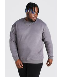 BoohooMAN Gray Plus Size Basic Sweater for men