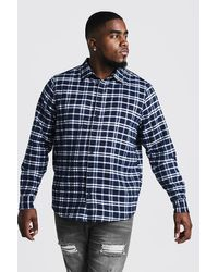 BoohooMAN Blue Big & Tall Shirt With Classic Check for men