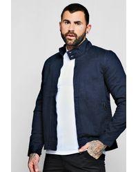 Boohoo Blue Twill Harrington Jacket for men