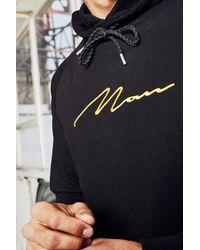 BoohooMAN Black Dele Man Signature Raglan Hoodie for men