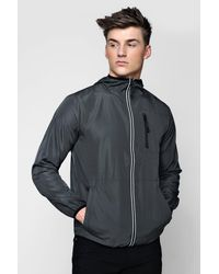 Boohoo Multicolor Reflective Tape Hooded Cagoule for men