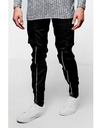Boohoo Black Skinny Fit Cuffed Zipped Cargo Trouser for men