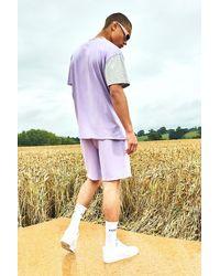 BoohooMAN Blue Varsity Soho Raw Hem T-shirt And Short Set for men