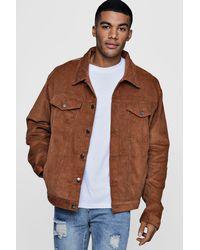 Boohoo Brown Oversized Cord Western Jacket for men