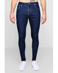 BoohooMAN Blue Spray On Skinny Jeans for men
