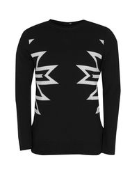 Boohoo | Black Intarsia Knit Bagel Neck Jumper for Men | Lyst