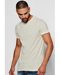 Boohoo Yellow Yarn Dye Stripe T-shirt for men