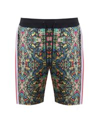 BoohooMAN Green French Tropical Print Shorts for men