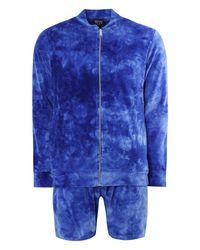Boohoo Blue Tie Dye Bomber & Short Set for men