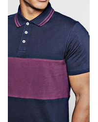 Boohoo - Blue Short Sleeve Colour Block Polo With Tipping for Men - Lyst