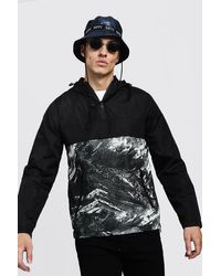 BoohooMAN Black Contrast Print Overhead Cagoule for men