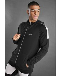 BoohooMAN Black Man Zip Through Hoodie With Panel Detail for men