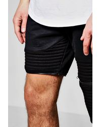 Boohoo Black Two In One Zip Off Skinny Biker Jog Shorts for men
