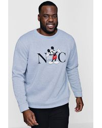 BoohooMAN Gray Big And Tall Disney Nyc Mickey Sweater for men