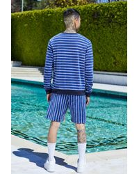 Boohoo Blue French Montana Stripe Sweat & Short Set for men