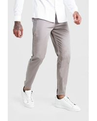 BoohooMAN Gray Skinny Fit Pleat Front Chino Pants for men