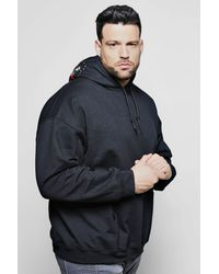 Boohoo Black Big And Tall Rose Embroidered Detail Hoodie for men