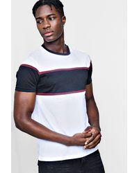 Boohoo - White Colour Block Chest Panel T Shirt for Men - Lyst