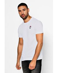 Boohoo White Eternity Rose Embroidered T-shirt for men