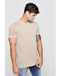 e8f13b85 Boohoo Crew Neck T-shirt With Step Hem T-shirt in Natural for Men - Lyst