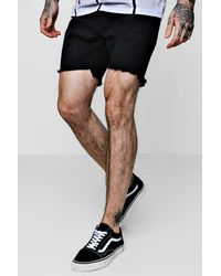 Boohoo Black Slim Fit Denim Shorts With Raw Stepped Hem for men