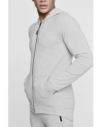 Boohoo Gray Active Zip Through Embroidered Gym Hoodie for men