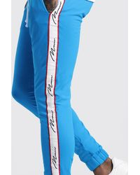 BoohooMAN Blue Skinny Man Tricot Tape Joggers for men
