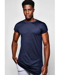 Boohoo Blue Longline Cap Sleeve T Shirt With Curved Hem for men