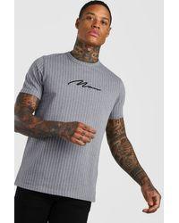 BoohooMAN Gray Man Signature Pinstripe Jacquard T-shirt for men
