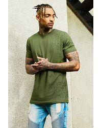 BoohooMAN Green Longline Distressed T-shirt for men