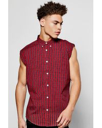 Boohoo - Red Raw Edge Sleeveless Check Shirt for Men - Lyst
