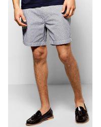 Boohoo | Blue Cotton Twill Stripe Shorts for Men | Lyst