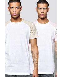 Boohoo Multicolor 2 Pack Short Sleeve Raglan T Shirts for men