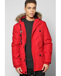 Boohoo Red Multi Pocket Parka With Faux Fur Hood for men