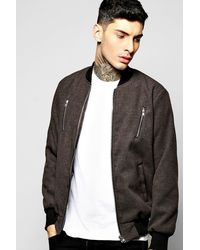 Boohoo - Gray Smart Melton Bomber Jacket With Contrast Zip Detail for Men - Lyst