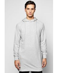 Boohoo - Gray Longline Raglan Hoodie With Side Zips for Men - Lyst