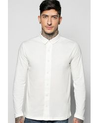 Boohoo Black Button Through Long Sleeve Jersey Shirt for men