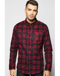 Boohoo - Red Brushed Check Long Sleeve Shirt for Men - Lyst