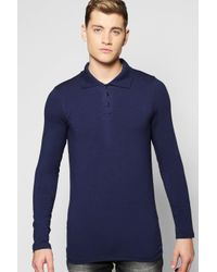 Boohoo | Blue Long Sleeve Muscle Fit Polo In Jersey for Men | Lyst
