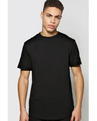Boohoo Black Curved Tshirt With Rolled Sleeve for men