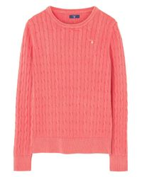 Gant Pink O.1 Sun Bleached Cable Crew
