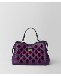 7eee905f3365 Lyst - Bottega Veneta Monalisa Intrecciato Velvet Napoli Bag in Purple