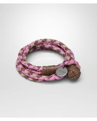 Bottega Veneta - Pink Bracelet In New Cigar And Mink Intrecciato Nappa And Peony Ayers - Lyst