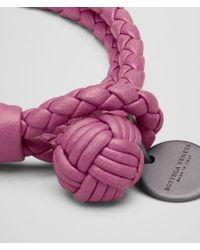 Bottega Veneta | Pink Intrecciato Single Knot Leather Bracelet | Lyst