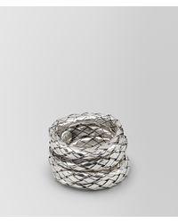 Bottega Veneta Metallic Rings In Intrecciato Silver