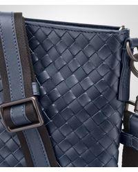 Bottega Veneta Blue Light Tourmaline Intrecciato Small Messenger Bag for men